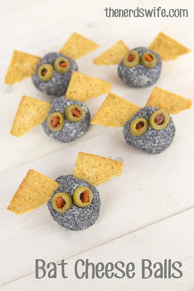 Bat Cheese Balls and Oreo Monsters Halloween Snacks