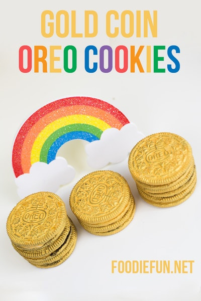 Gold Coin Oreo Cookies + Printable Rainbow Treat Bag Topper