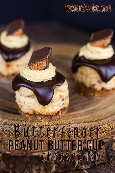 Mini Butterfinger Peanut Butter Cup Cheesecakes